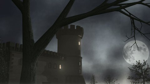 Haunted House with Lightning 1 CGI-HD - stock footage