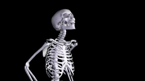 Skeleton Disco Dancing - Zoom Out + Alpha  CGI - stock footage