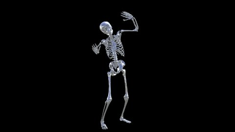 Skeleton Disco Dancing . Chrome -  Heaven Blue + Alpha  CGI - stock footage