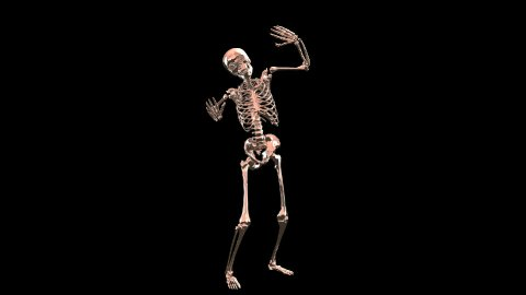 Skeleton Disco Dancing . Chrome- Hell Red + Alpha  CGI - stock footage