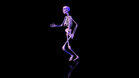 Skeleton running circles- Blue - CGI HD - stock footage