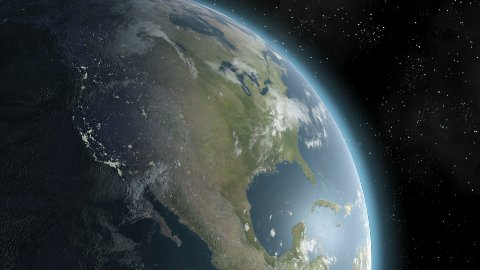 Earth Sunrise Over North America CGI HD - stock footage