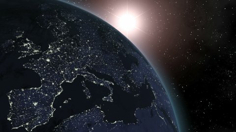 Earth Sunrise Over Europe CGI HD - stock footage