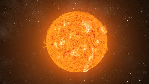 Sun Eruptions Flyby CGI HD - stock footage