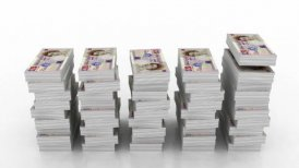 Falling stacks of 20 pound currency - editable clip, motion graphic, stock footage