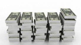 Falling stacks of 100 dollar currency - editable clip, motion graphic, stock footage