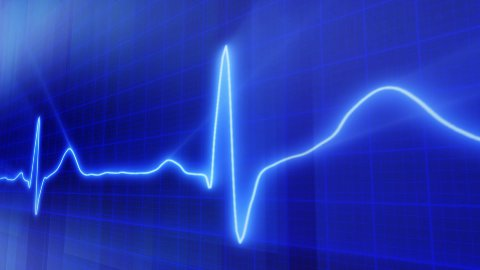 seamless loop blue background EKG electrocardiogram pulse real waveform - stock footage