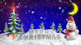merry christmas clay greetings loopable scene - motion graphic