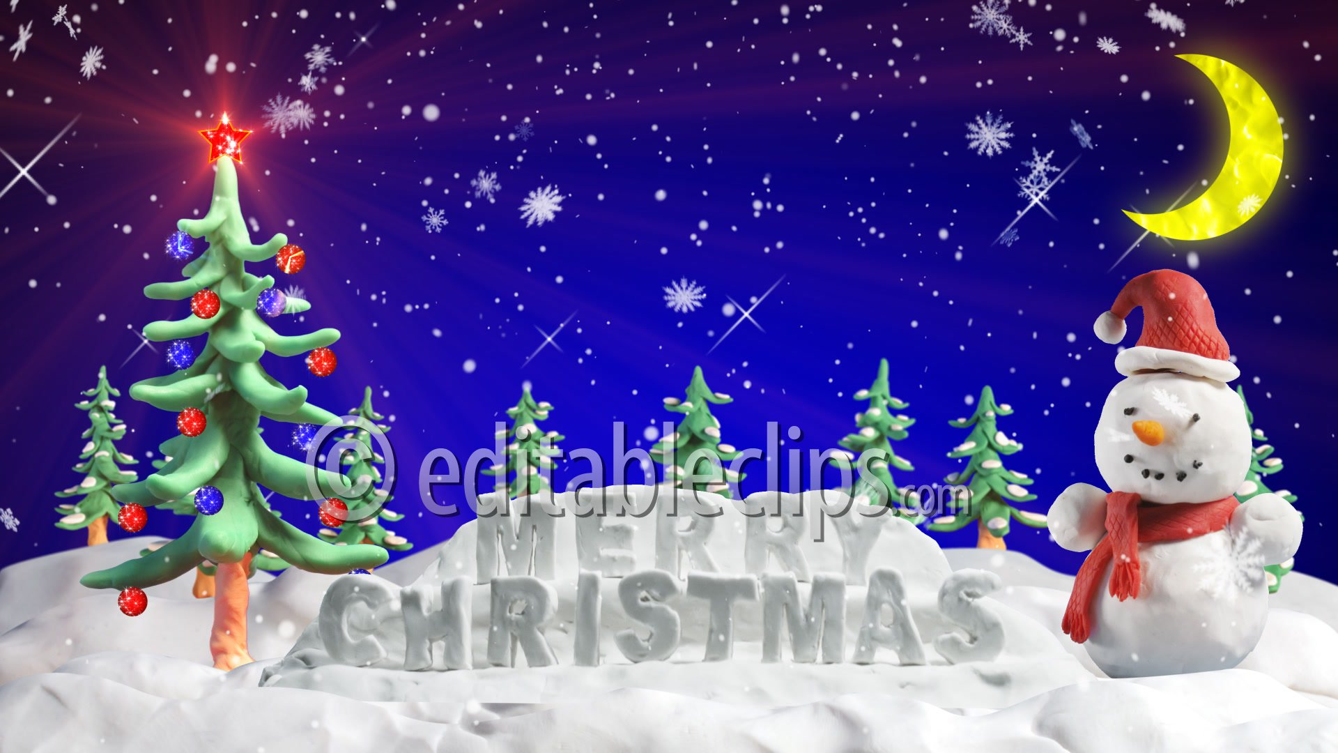 Merry Christmas Clay Greetings Hd 1080 Editable Clips