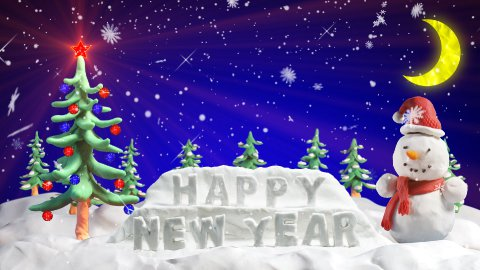 happy new year clay greetings loopable scene - stock footage