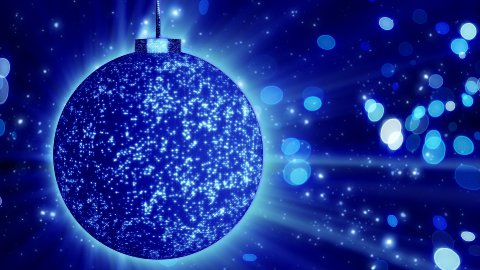 blue christmas ball close-up and lights loop - stock footage