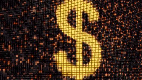 seamless loop dollar shape on digital screen - stock footage