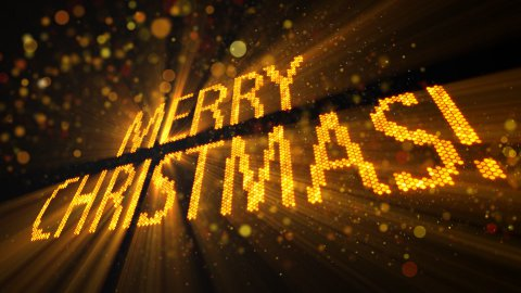 greetings merry christmas of shining yellow elements 10s loop - stock footage