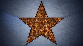shining star shape and metal loopable background - motion graphic