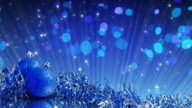 blue christmas tree decoration and glitter particles loop - motion graphic