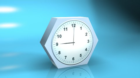 timelapse clock with reflection on blue 3d - stock footage