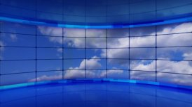 clouds on screens in blue virtual studio loop - motion graphic