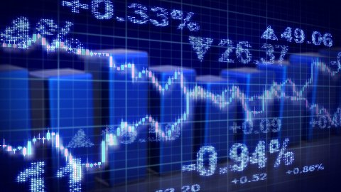 stock market blue loopable business background - stock footage