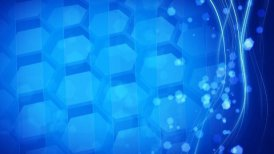 cells and hexagons looping blue background