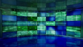 IT high-tech background on screens in virtual studio loop - motion graphic