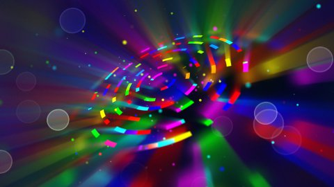 multicoloured shiny circles and particles loop background - stock footage