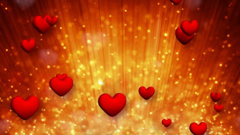 heart shapes and golden particles rising up loop - stock footage