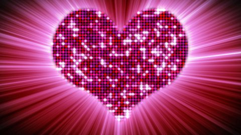 shining heart shape of pink particles loopable - stock footage
