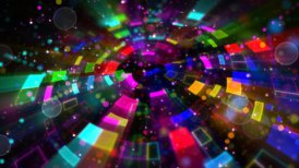 multicolored circular segments and particles loop - motion graphic