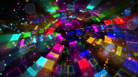 multicolored circular segments and particles loop - stock footage