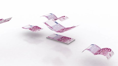 Flying Euro Banknotes (alpha) - stock footage
