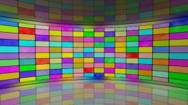multicoloured screens in virtual studio loop