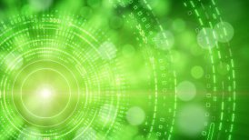 green abstract background lights and tech circles loop - motion graphic