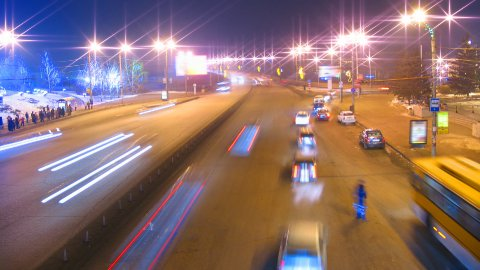 cars on night city road timelapse - stock footage