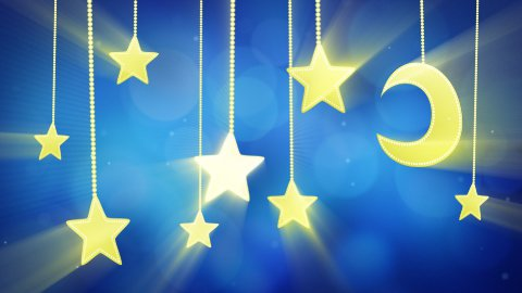 night time decoration moon and stars loop - stock footage