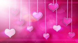 shiny hearts dangling on strings love loop background - motion graphic