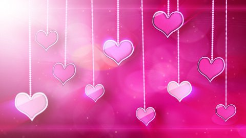 shiny hearts dangling on strings love loop background - stock footage