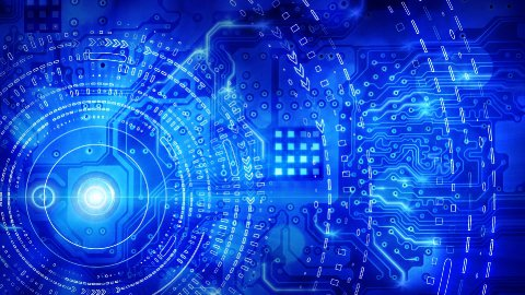 blue computer circuit board background loop - stock footage