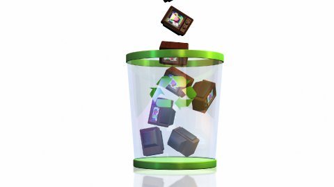 Recycle, Vintage TV falling into a Garbage Bin against white, Alpha - stock footage