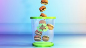 Cheeseburgers falling in a Garbage Bin, Dieting Concept, Alpha - motion graphic