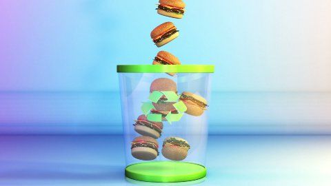 Cheeseburgers falling in a Garbage Bin, Dieting Concept, Alpha - stock footage