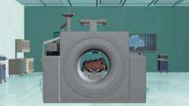 MRI Hospital, Camera Fly Through and stop on Brain Scan