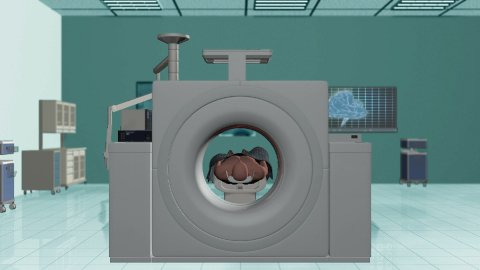 MRI Hospital, Camera Fly Through and stop on Brain Scan - stock footage