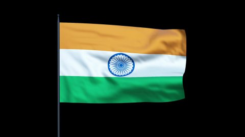 India Flag Waving, Seamless Loop, Alpha - stock footage