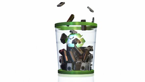 Cameras falling into a Garbage Bin against white - stock footage
