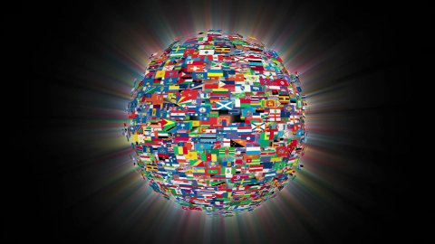 Flags of the World Sphere Rotating, Loop, Shine - stock footage