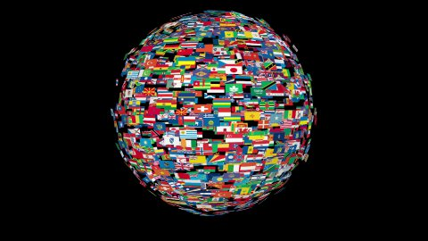 Flags of the World Sphere Rotating, Loop, Alpha - stock footage