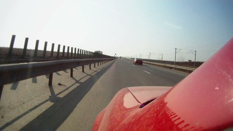Driving across Romania, Constanta to Bucharest on highway, time lapse part 1 - stock footage
