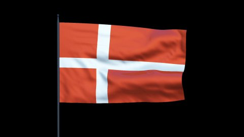 Denmark Flag Waving, Seamless Loop, Alpha - stock footage