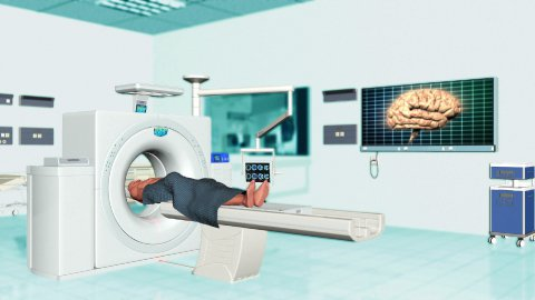 MRI Scanner in a Hospital Room, Alpha - stock footage