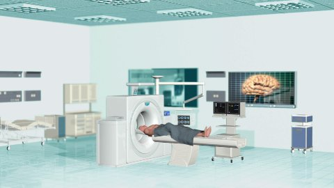 MRI Scan at Hospital , Camera panning, Alpha - stock footage